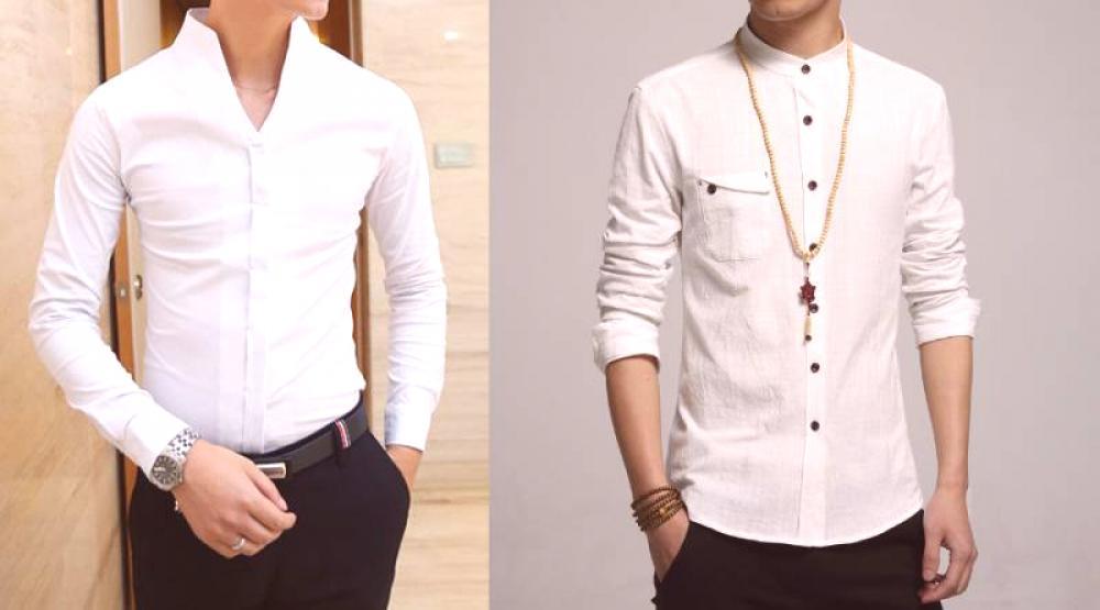 061f87e8eb2 Образът на един брутален мъж ще помогне да се създадат ризи с яка на  стойка, ако се комбинира правилно с аксесоари и други дрехи.
