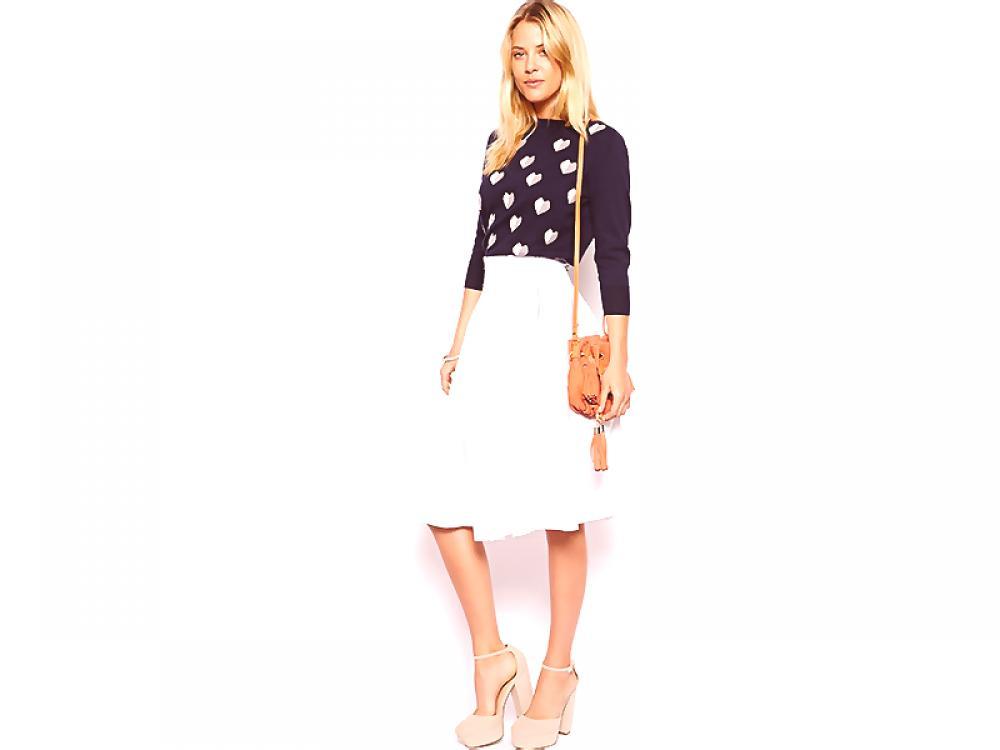 28400775 Biała spódnica midi jest idealna dla modnej damy Moda z Couture.Ru