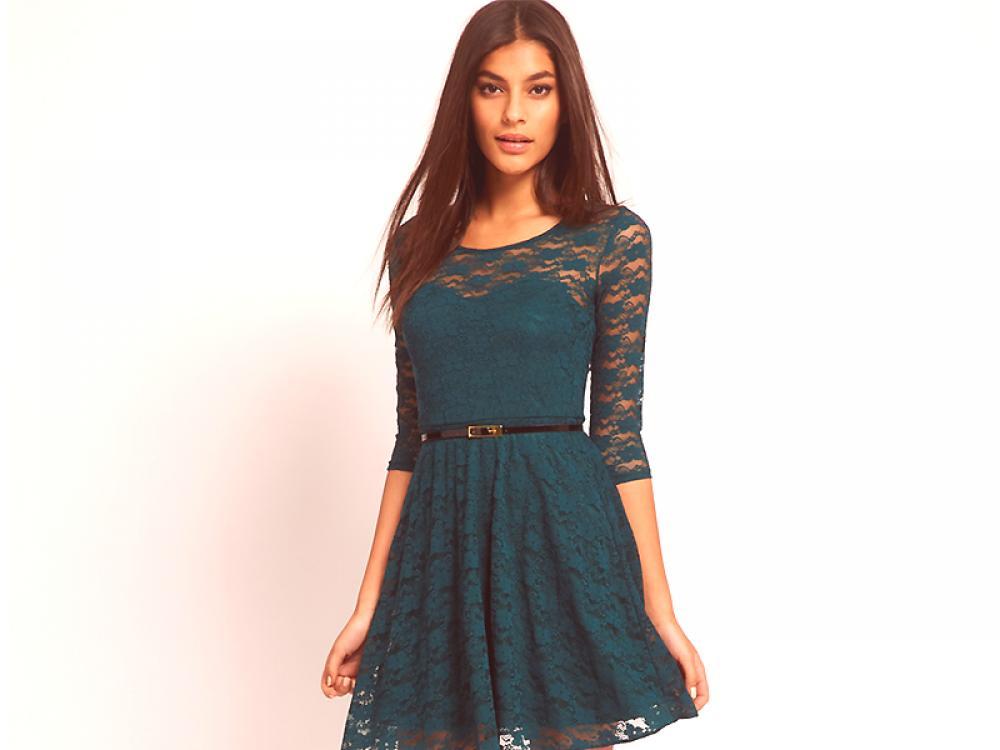 60e253920 Vestido de encaje verde - para fashionistas brillantes y activas ...